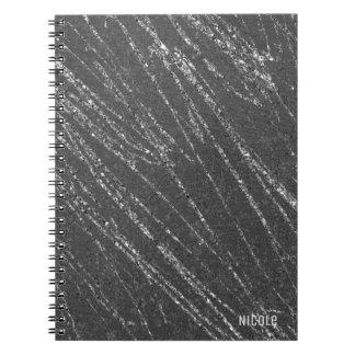 Grey & Silver Modern Glam Marble Stripe Designer Spiral Notebook