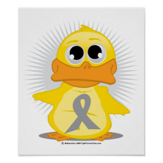 Grey/Silver Ribbon Duck Poster