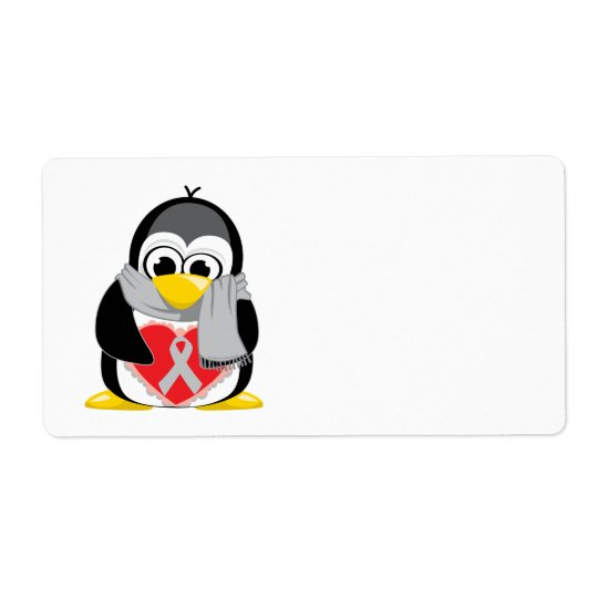 Grey/Silver  Ribbon Penguin Scarf Shipping Label
