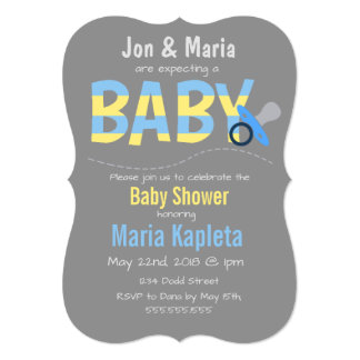 Grey Simple Expecting Baby Shower Invitation