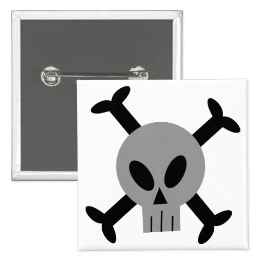 Grey Skull And Crossbones Button