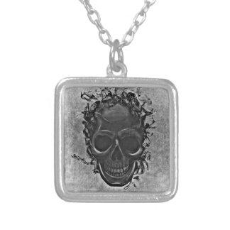 Grey skull square pendant necklace