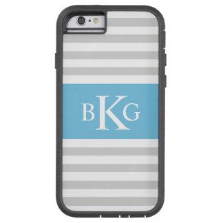 Grey Sky Blue Stripes Monogram Tough Xtreme iPhone 6 Case