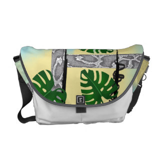 Grey Snakeskin Tropical Leaves Messenger Bag