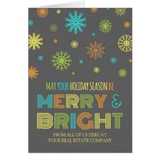 Grey Snowflake Real Estate Season's Greetings Card