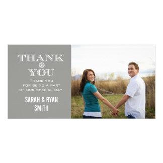 Grey Snowflake Wedding Photo Thank You Cards Customized Photo Card