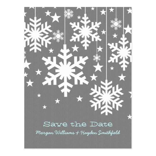 Grey Snowflakes and Stars Save the Date Postcard