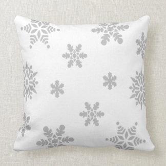 Grey Snowflakes Falling Throw Pillow