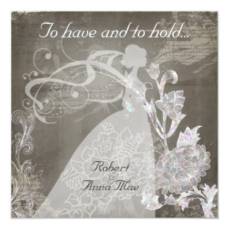 Grey Song To Have and Hold Wedding Invitation