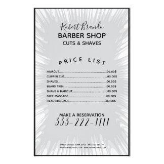 Grey Splash Background Barber Price List Flyer