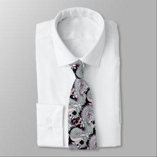 Grey Splash Dragon on Pink Tie