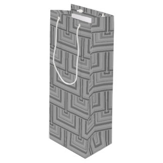 Grey square scales wine gift bag