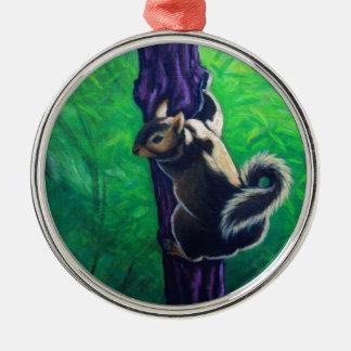 grey squirrel animal painting christmas tree ornament