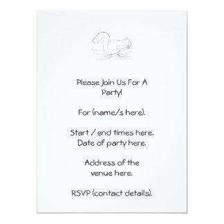 Grey Squirrel, Eating a Nut. Sketch. 17 Cm X 22 Cm Invitation Card