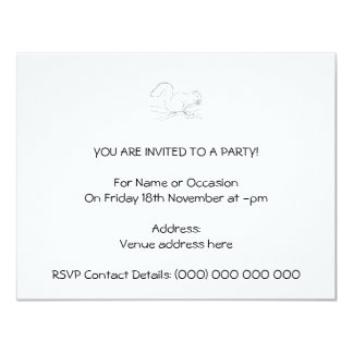 Grey Squirrel, Eating a Nut. Sketch. Personalized Announcements