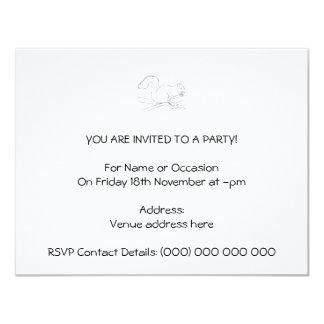 Grey Squirrel, Eating a Nut. Sketch. 4.25x5.5 Paper Invitation Card