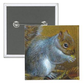 Grey squirrel fine art painting button/badge 15 cm square badge