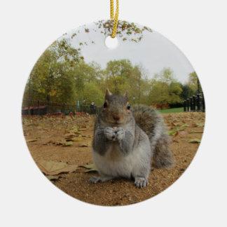 Grey Squirrel Hyde Park. Ceramic Ornament