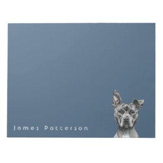 Grey Stalky Pit Bull Dog Drawing Notepad