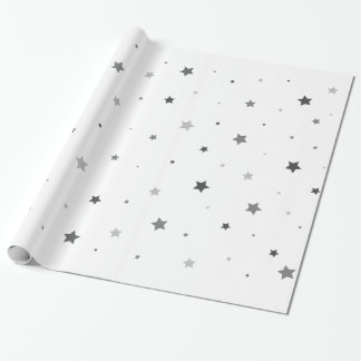 Grey Stars Glossy Wrapping Paper