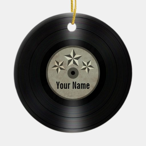 Grey Stars Personalized Vinyl Record Album Ornaments