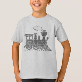 "Grey steam loco train ""your name"" kids t-shirt"