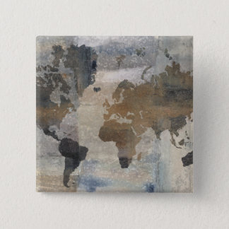 Grey Stone Map Of The World 15 Cm Square Badge