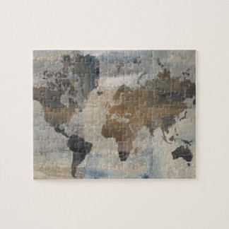 Grey Stone Map Of The World Jigsaw Puzzle