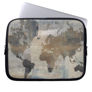 Grey Stone Map Of The World Laptop Sleeve