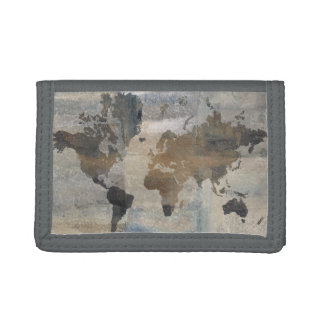 Grey Stone Map Of The World Tri-fold Wallets