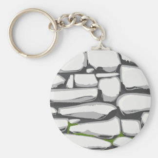 Grey Stone Wall Basic Round Button Key Ring