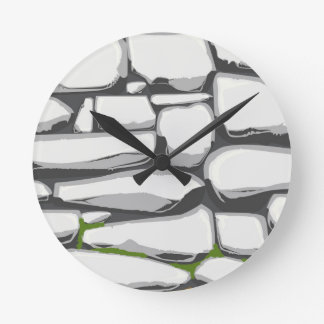 Grey Stone Wall Round Clock