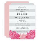 Grey Stripe & Pink Peony Baby Shower Invitation