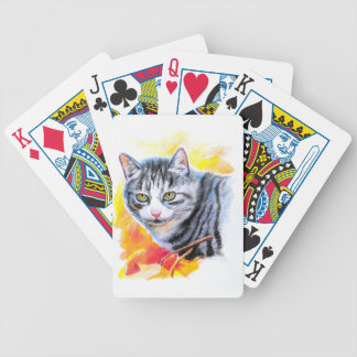 Grey Striped Cat Bicycle Playing Cards