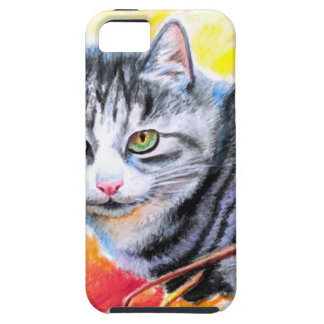 Grey Striped Cat Case For The iPhone 5