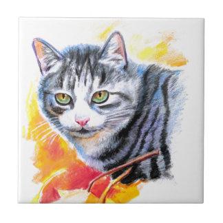 Grey Striped Cat Ceramic Tile