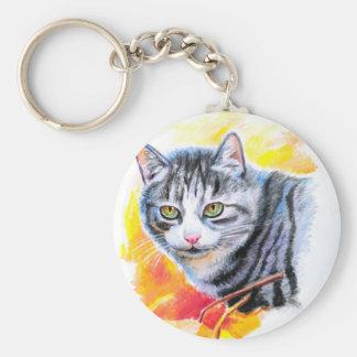 Grey Striped Cat Key Ring