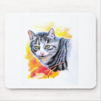 Grey Striped Cat Mouse Pad