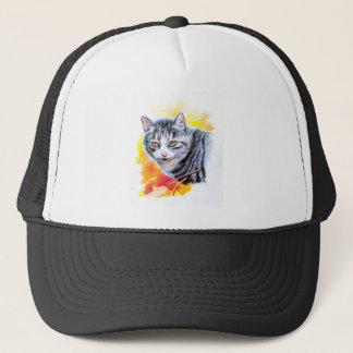 Grey Striped Cat Trucker Hat