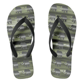 Grey Striped Elephants on Camouflage Olive-Green Thongs