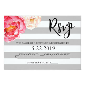 Grey Striped Floral RSVP Card