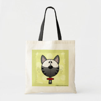 Grey Striped Kitty Budget Tote Bag