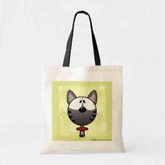 Grey Striped Kitty Canvas Bag