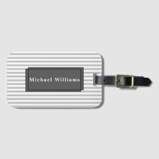 Grey Striped Luggage Tag with Business Card Slot