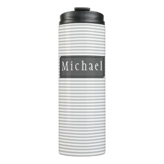 Grey Striped Pattern Personalised Thermal Tumbler