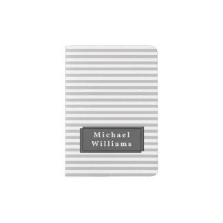 Grey Striped Personalised Passport Holder
