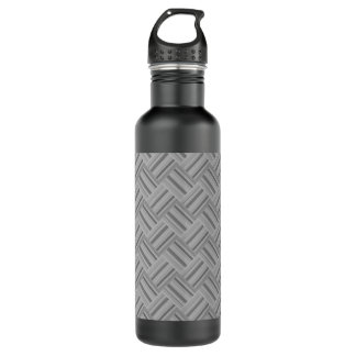 Grey stripes diagonal weave pattern 710 ml water bottle