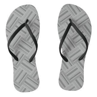 Grey stripes diagonal weave pattern thongs