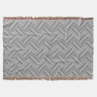 Grey stripes diagonal weave pattern throw blanket