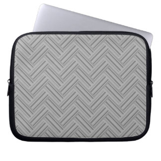 Grey stripes double weave pattern laptop sleeve